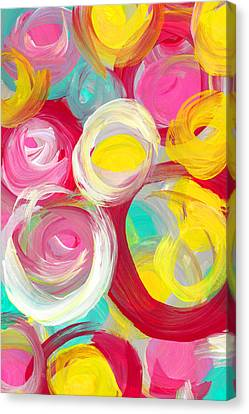 Abstract Rose Garden In The Morning Light Vertical 2 Canvas Print by Amy Vangsgard