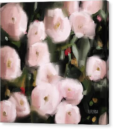 Abstract Roses Peach And Light Pink Canvas Print by Beverly Brown