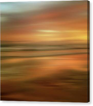 Abstract Sunset Illusions - Gold Canvas Print by Joann Vitali