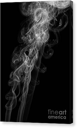 Abstract Vertical Monochrome White Mood Colored Smoke Wall Art 01 Canvas Print by Alexandra K