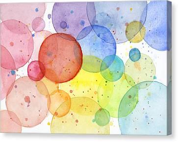 Abstract Watercolor Rainbow Circles Canvas Print by Olga Shvartsur