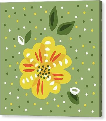 Abstract Yellow Primrose Flower Canvas Print by Boriana Giormova