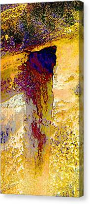 Abstract Yellow Purple Complementary Colors Textured Wall 2a Canvas Print by Sue Jacobi