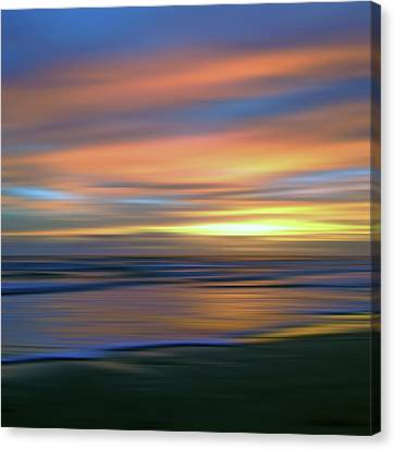 Abstract Sunset Illusions - Blue And Gold Canvas Print by Joann Vitali