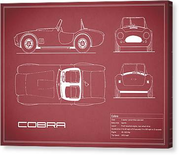 Ac Cobra Blueprint - Red Canvas Print by Mark Rogan