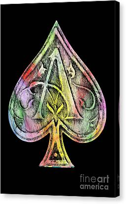 Ace Of Spades Champagne Canvas Print by Jon Neidert
