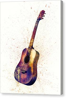 Acoustic Guitar Abstract Watercolor Canvas Print by Michael Tompsett