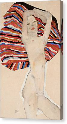Act Against Colored Material Canvas Print by Egon Schiele