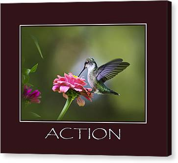 Action Inspirational Motivational Poster Art Canvas Print by Christina Rollo