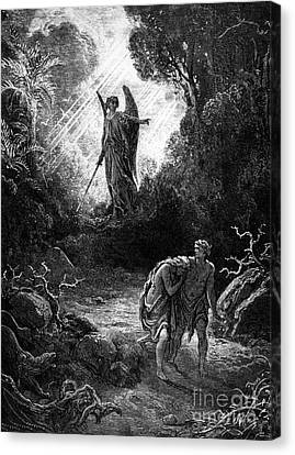 Adam And Eve Leaving Paradise Canvas Print by Gustave Dore