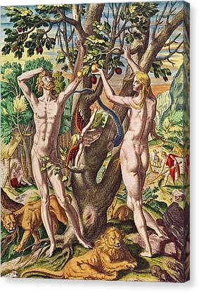 Adam And Eve Canvas Print by Theodore de Bry