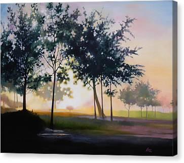 Adam-ondi-ahman Sunrise Canvas Print by Lester Nielsen