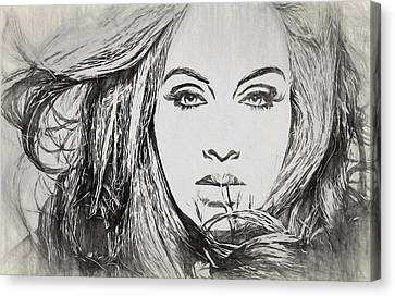 Adele Charcoal Sketch Canvas Print by Dan Sproul