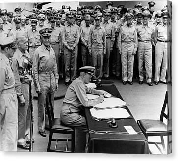 Admiral Nimitz Signing The Japanese Surrender  Canvas Print by War Is Hell Store