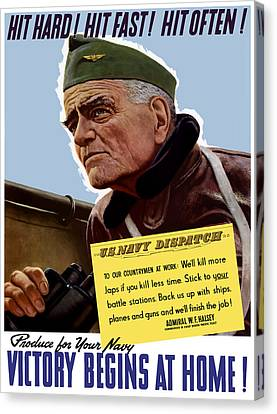 Admiral William Bull Halsey -- Ww2 Propaganda  Canvas Print by War Is Hell Store