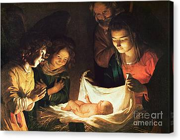 Adoration Of The Baby Canvas Print by Gerrit van Honthorst