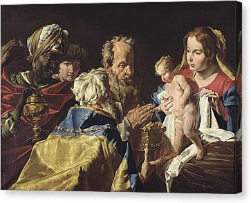 Adoration Of The Magi  Canvas Print by Matthias Stomer