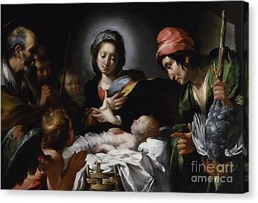Adoration Of The Shepherds Canvas Print by Bernardo Strozzi