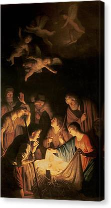 Adoration Of The Shepherds Canvas Print by Gerrit van Honthorst