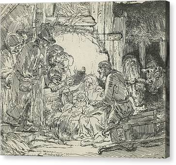 Adoration Of The Shepherds, With Lamp Canvas Print by Rembrandt