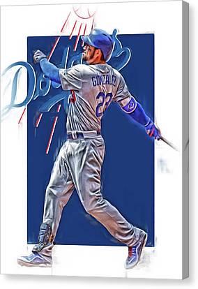 Adrian Gonzalez Los Angeles Dodgers Oil Art Canvas Print by Joe Hamilton
