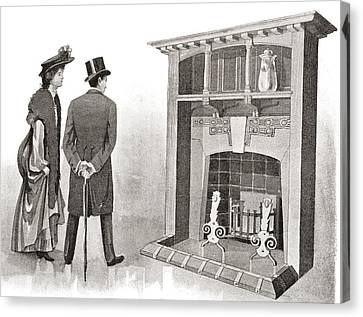 Advertisement For A Fireplace. From The Canvas Print by Vintage Design Pics