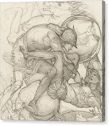 Aeneas Slaying Mezentius Canvas Print by Sir Edward Coley Burne-Jones