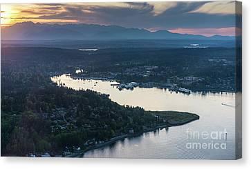 Aerial Eagle Harbor Bainbridge Island Canvas Print by Mike Reid