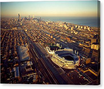 Aerial View Of A City, Old Comiskey Canvas Print by Panoramic Images