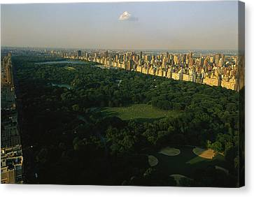 Aerial View Of Central Park, An Oasis Canvas Print by Melissa Farlow