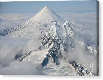 Aerial View Of Shishaldin Volcano Canvas Print by Richard Roscoe