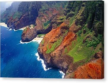Aerial View Of The Na Pa Li Coast Kauai Hawaii Canvas Print by George Oze