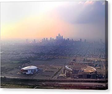 Aerial View - Philadelphia's Stadiums With Cityscape  Canvas Print by Bill Cannon