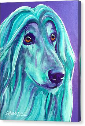 Afghan Hound - Aqua Canvas Print by Alicia VanNoy Call