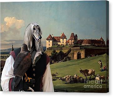 Afghan Hound-falconer And Castle Canvas Fine Art Print Canvas Print by Sandra Sij