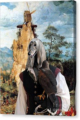 Afghan Hound-falconer And Windmill Canvas Fine Art Print Canvas Print by Sandra Sij