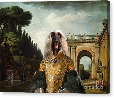 Afghan Hound-the Afternoon Promenade In Rome  Canvas Fine Art Print Canvas Print by Sandra Sij