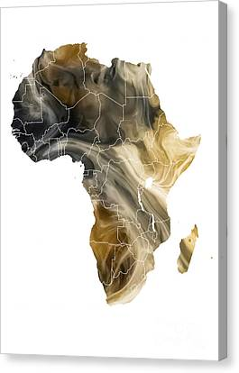 Africa Map Pollution Canvas Print by Justyna JBJart