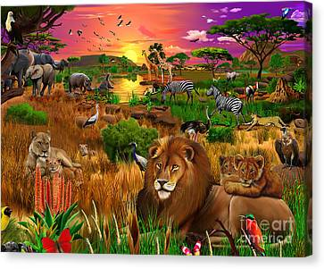 African Evening Canvas Print by Gerald Newton
