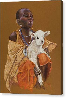African Girl With Lamb Canvas Print by Pamela Mccabe