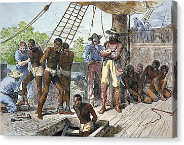 African Slaves Being Taken On Board Ship Bound For Usa Canvas Print by American School