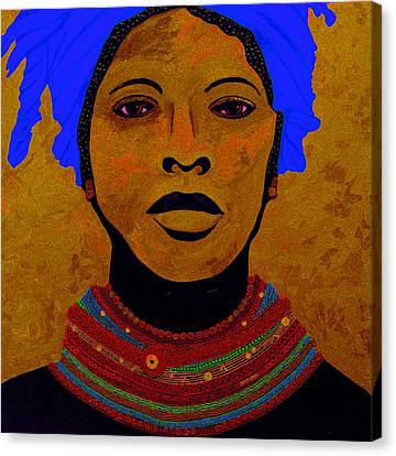 African Woman With Beads 2 Canvas Print by Irene Jonker