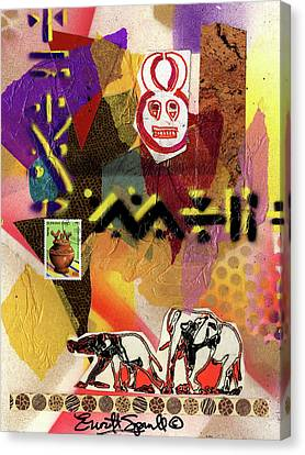Afro Collage - O Canvas Print by Everett Spruill