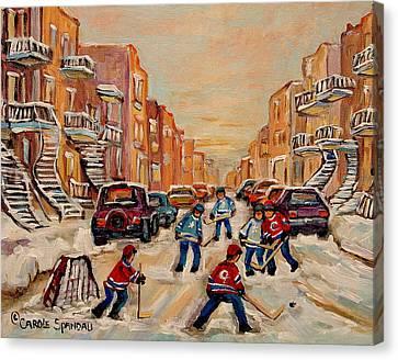 After School Hockey Game Canvas Print by Carole Spandau