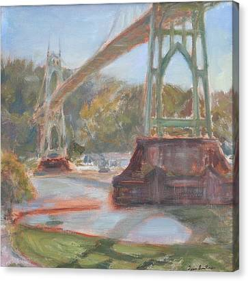 Afternoon In Cathedral Park, Original Contemporary Impressionist Oil Painting Canvas Print by Quin Sweetman