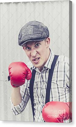 Aggressive Boxer Wearing 1920s Flat Cap Canvas Print by Jorgo Photography - Wall Art Gallery