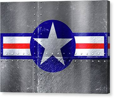 Air Force Logo On Riveted Steel Plane Fuselage Canvas Print by Design Turnpike