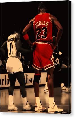 Air Jordan And Muggsy Bogues Canvas Print by Brian Reaves