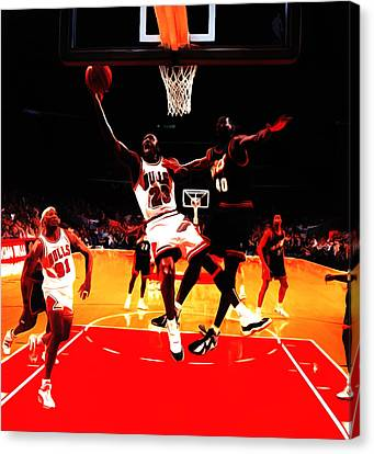 Air Jordan In Flight 3b Canvas Print by Brian Reaves