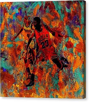 Air Jordan In The Paint 02a Canvas Print by Brian Reaves